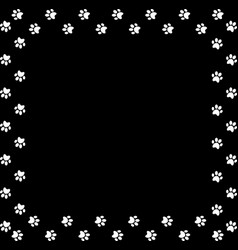 Square frame made of white animal paw prints on vector