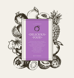 Square fruit frame - hand drawn design vector
