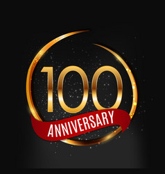 template gold logo 100 years anniversary with red vector image