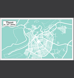Tiaret algeria city map in retro style outline map vector