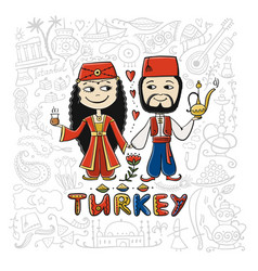 travel to turkey couple in national clothes for vector image