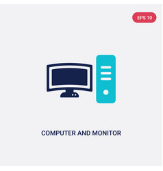 Two color computer and monitor tools icon from vector
