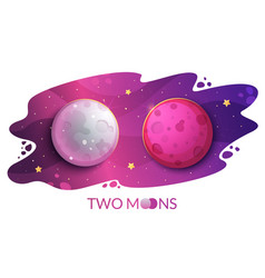 two moons mystical phenomenon on the starry sky vector image