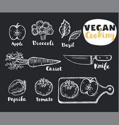 vegetables eco vegan set vector image