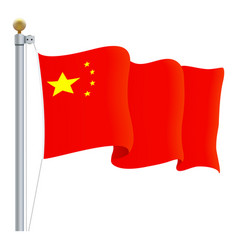 waving china flag isolated on a white background vector image