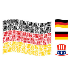 waving germany flag pattern of uncle sam hat items vector image