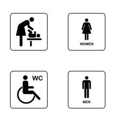 Wc toilet door plate icon set men and women wc vector