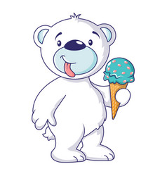 White bear with ice cream icon cartoon style vector