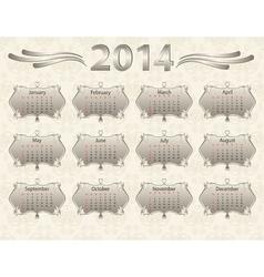2014 calendar year in vintage style vector image