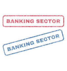 Banking sector textile stamps vector