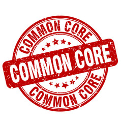 common core red grunge stamp vector image