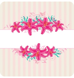 Decorative striped background with red flowers vector image