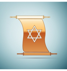 Gold star of david on scroll icon for blue vector