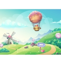 Landscape with fox in blimp vector