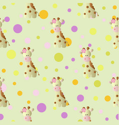 pattern with cartoon cute toy baby giraffe vector image vector image