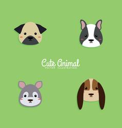 dog cartoon faces vector image
