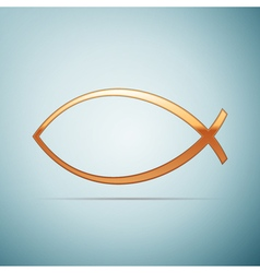Gold christian fish icon on blue background vector