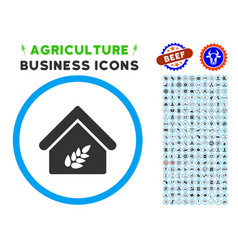 grain warehouse rounded icon with set vector image vector image