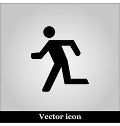 Running man icon on grey background vector image vector image