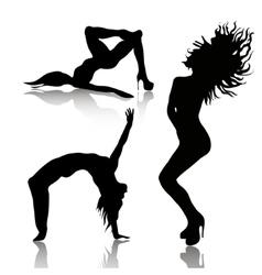 set of dancing woman vector image