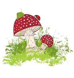 mushroom and ladybird vector image vector image