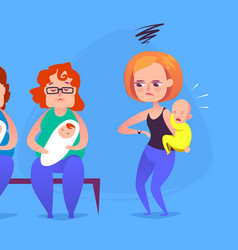 sad mother with a crying child in a queue vector image