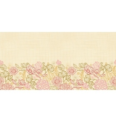 Textile flowers horizontal seamless pattern vector image vector image