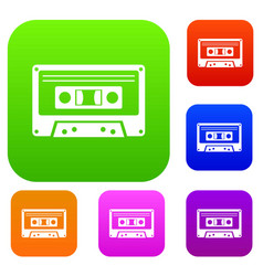 cassette tape set collection vector image