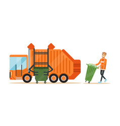 garbage truck driver loading recycle bin into vector image vector image