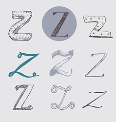 Original letters z set isolated on light gray vector