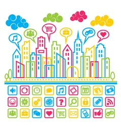 Social Media City vector image