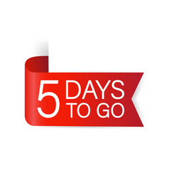 5 days to go red label red web ribbon isolated vector