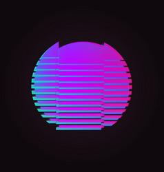 80s glowing neon sun glitch effect vector image