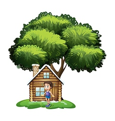 A boy playing outside the wooden house vector