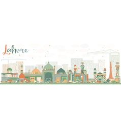Abstract Lahore Skyline with Color Landmarks vector image
