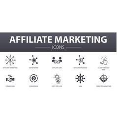 Affiliate marketing simple concept icons set vector