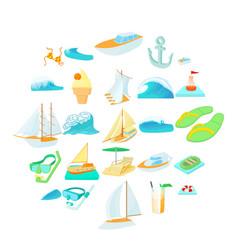 Algae icons set cartoon style vector