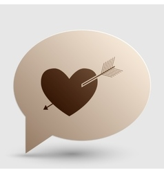 Arrow heart sign Brown gradient icon on bubble vector image