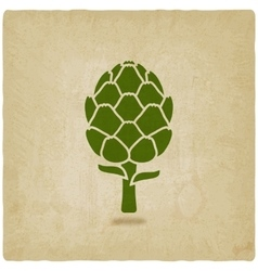 artichoke symbol on old background vector image