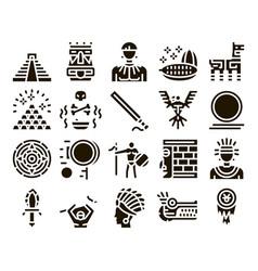 Aztec civilization glyph set vector