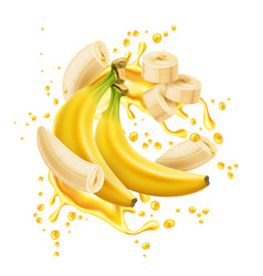 banana bunch peeled rings juice flow vector image