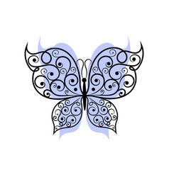 Beautiful butterfly with swirl pattern vector