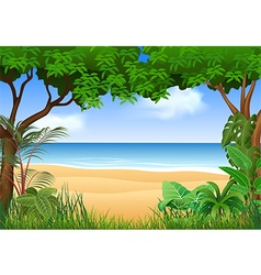 Beautiful tropical beach on the forest vector