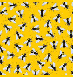 Bees on a yellow background seamless pattern vector