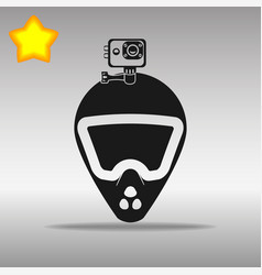 bike helmet with action camera black icon vector image
