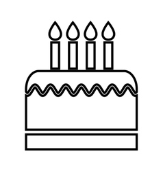 birthday cake with candles isolated icon design vector image