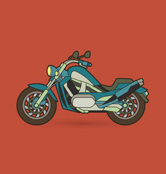 Blue motorbike side view graphic vector