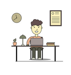 Boy smiling and doing homework with laptop vector