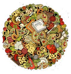 cartoon doodles pizza vector image