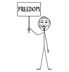 Cartoon man in guy fawkes mask holding freedom vector
